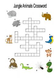 English Worksheets: Jungle Animals Crossword