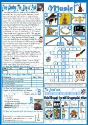 English Worksheets: Music(Totally editable +Key)