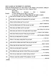Worksheets Noun Clause Worksheet noun clause worksheets clauses high school templates and clause