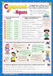 English Worksheets: Basic Compound Nouns for Upper Elementary and Intermediate Stds.  (2)