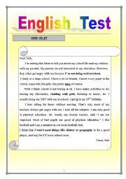 English Worksheets: english test reading comprehension