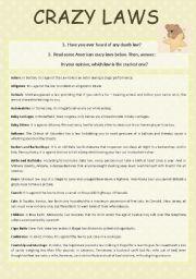 English Worksheet: Crazy Laws