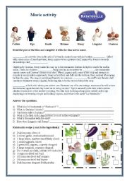 english worksheets ratatouille movie activity. Black Bedroom Furniture Sets. Home Design Ideas