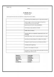 english worksheets to build a fire vocabulary quiz. Black Bedroom Furniture Sets. Home Design Ideas