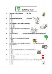 English Worksheet: Earth Day Quiz