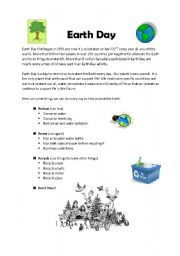 English Worksheet: Earth Day Information and Worksheet  [PAGE 1]