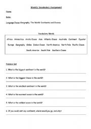 English worksheet: Vocabulary: Geography: Continents and Oceans
