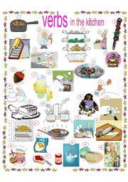 English Teaching Worksheets Kitchen Verbs