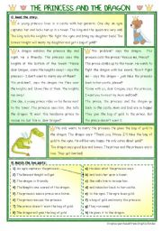English Worksheet: Fairy Tales/ Stories (12): The (Bear...) Princess and the Dragon - 2 pages