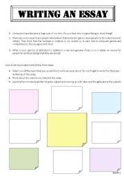 Writing an Essay - ESL worksheet by sarahjane68