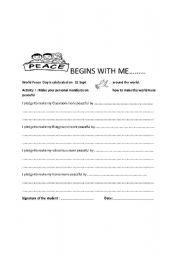 English Worksheets: Peace
