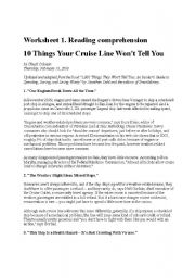 English Worksheets: Bad things about cruises