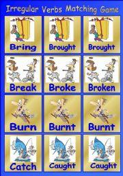 English Worksheet: Irregular Verbs Matching Game 1 of 3