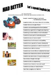 English Worksheet: Revision series 34 - Had better