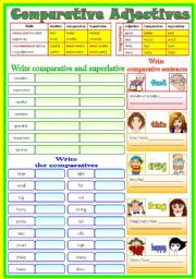 English Worksheet: Comparative Adjectives _ (B/W & Keys)