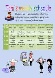English Worksheets: weekly schedule