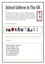 English Worksheet: School Uniform in the UK