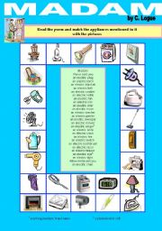 English Worksheet: �Madam� a poem by C. Logue - Electrical appliances