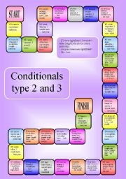 English Worksheet: Mixed Conditionals - a boardgame - type 2 and 3 (editable)