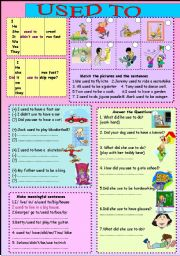 English Worksheet: used to