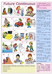 English Worksheet: Future Continuous ***fully editable