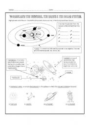 English worksheets: The Universe - label the pictures
