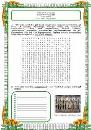 English Worksheets: ART MOVEMENTS (4 exercises; key included)