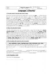 English Worksheet: for 1ST year secondary school.a very useful  grammar test