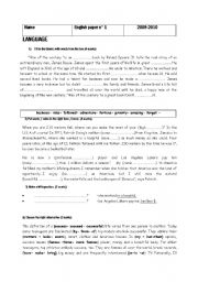English Worksheet: for 1ST year Tunisian secondary school pupils.a very useful  grammar test