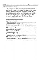 English Worksheets: Ann