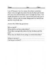 English Worksheets: too many chocolates