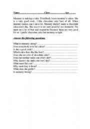 English Worksheets: mummy�s chocolate cake