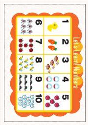 English worksheet: LET´S LEARN NUMBER1