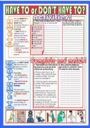 English Worksheet: HAVE TO or DON�T HAVE TO?