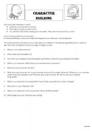 Printables Character Building Worksheets english worksheets character building part 1 worksheet 1