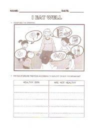 English Worksheets: I EAT WELL