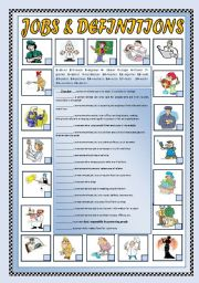 English Worksheets: JOBS and DEFINITIONS