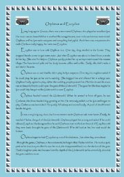 English Worksheet: Greek Myth - Orpheus and Eurydice
