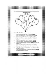 English Worksheets: Balloons
