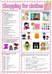 English Worksheet: SHOPPING FOR CLOTHES