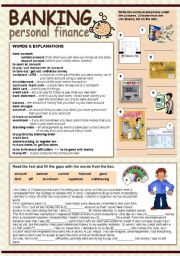 English Worksheet: BANKING - PERSONAL FINANCE