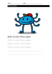 English Worksheet: Incy Wincy Spider (Nursery rhyme)