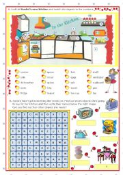 English Worksheet: Sandra�s new kitchen -- what she has and what is missing  -  fun activities