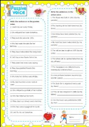 English Worksheets: passive voice (with key)