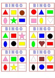 English Worksheets: Color Shape Bingo!