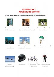 english worksheets adventure sports vocabulary. Black Bedroom Furniture Sets. Home Design Ideas