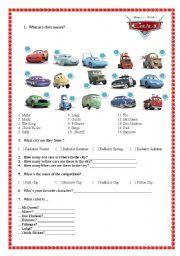 English Worksheets: Movie -Cars