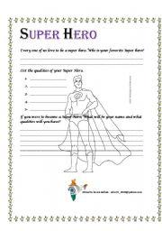 english worksheets super hero. Black Bedroom Furniture Sets. Home Design Ideas