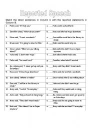 English Worksheets: Reported speech (simple present)