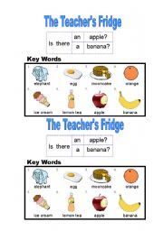 English Worksheet: Fridge and Food Information Gap - Part B